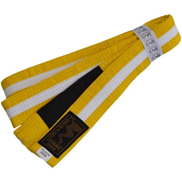 Kinder BJJ Gürtel gelb-weiß m. Bar 220 cm