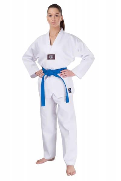 Taekwondo Anzug Basic weiß, Rückendruck