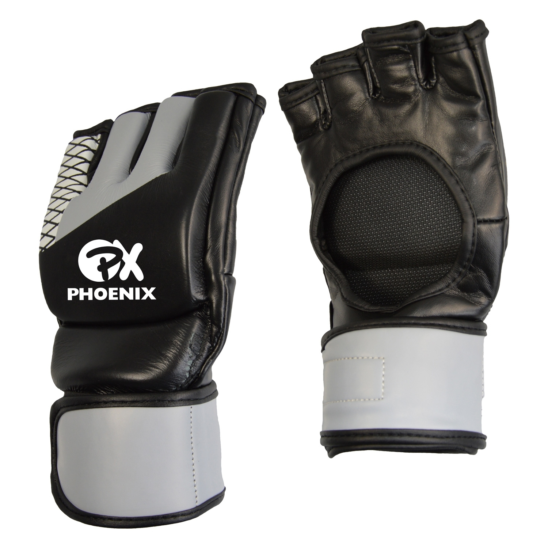 PX MMA Handschuhe ohne Daumen ADVANCE schwarz grau