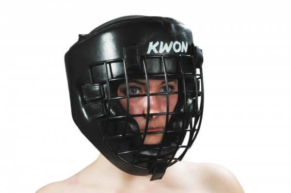 KWON Kopfschutz Leder mit Eisengitter