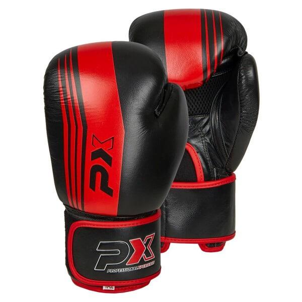 PX Boxhandschuhe schwarz-rot Leder 8oz