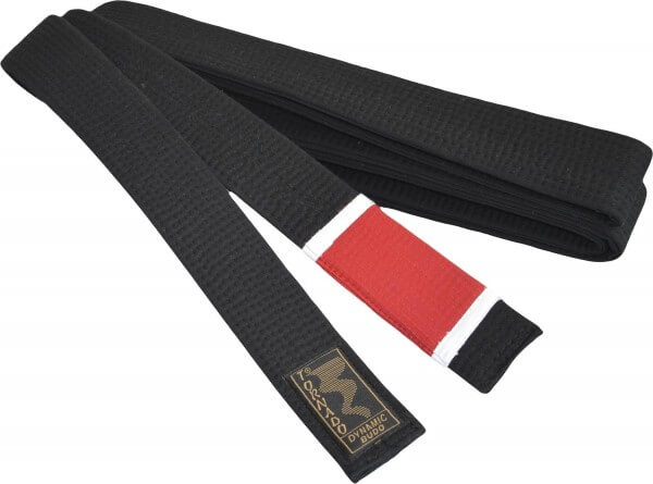 BJJ Gürtel schwarz, roter Balken, 260cm