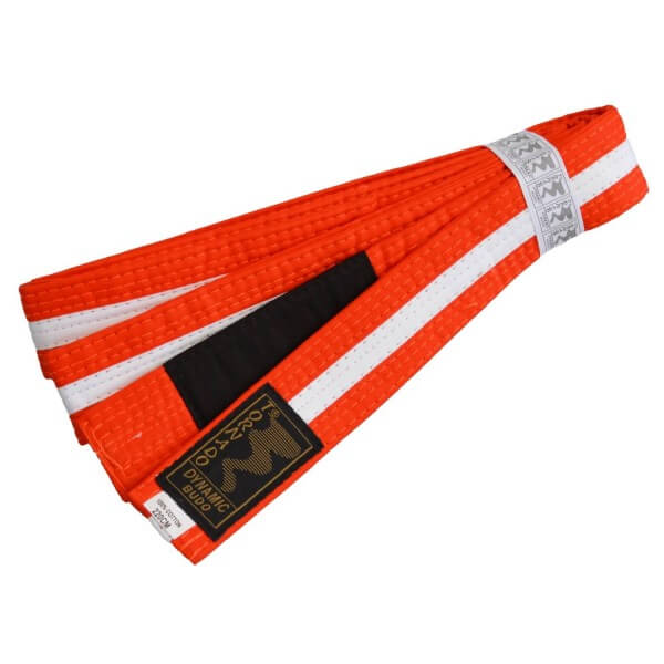 Kinder BJJ Gürtel orange-white m. Bar 220 cm