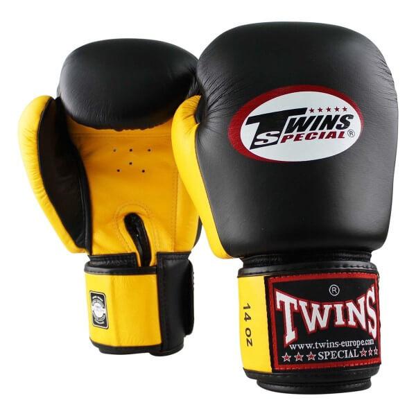 TWINS Boxhandschuhe Muay Thai Leder BGVL-3 Black/Yellow