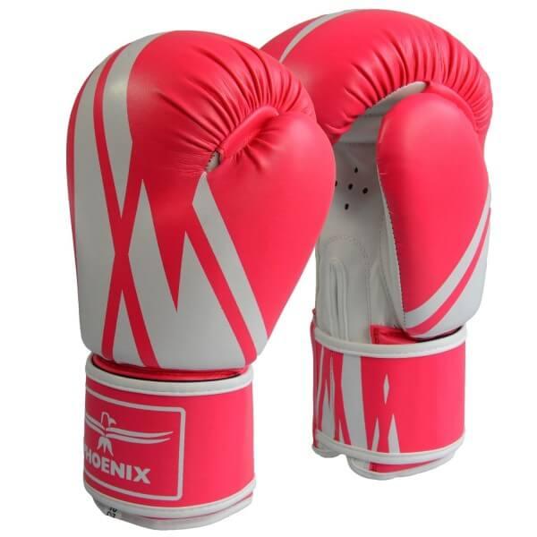 Boxhandschuhe Kunstleder pink-weiß 6oz