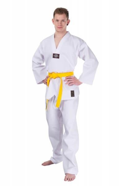 Taekwondo Anzug Dobok Ribbed weißes Revers