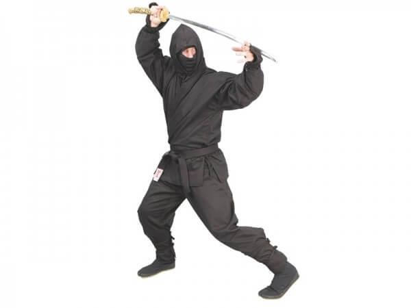 Ninja-Anzug schwarz 6-teilig Gr 160