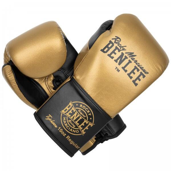 BENLEE Wettkampf Schnür Boxhandschuhe TYPHOON Black /Gold