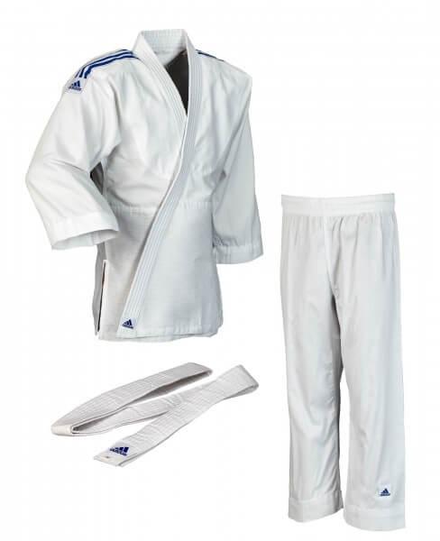 """ADIDAS Judo """"Club"""" weiß, blaue Streifen 100"""