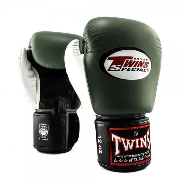 TWINS Boxhandschuhe Muay Thai Leder BGVL 4 olive/white