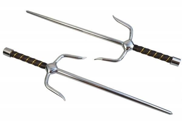 Paar Sai-Gabeln verchromt ca 48.5 cm