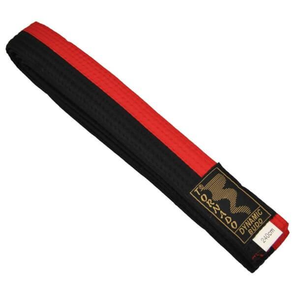 Budogürtel rot-schwarz mittig geteilt 240 cm