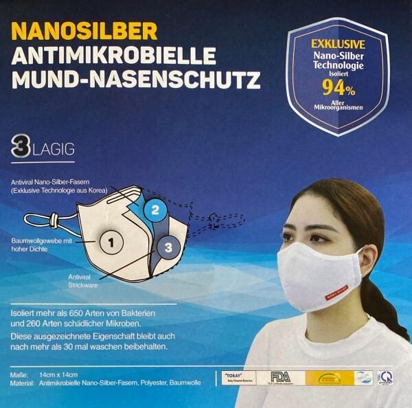 2er Pack Gesichtsmaske NANO SILVER, weiß