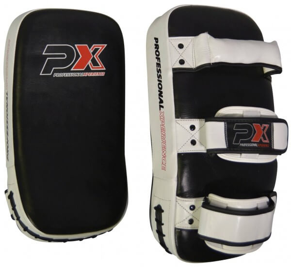 PX Thai Pads Pratzen Kickboxen Echtleder, paarweise, schwarz-weiß