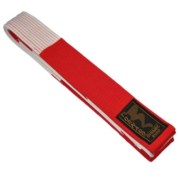 Großmeister-Gürtel Rot-weiß 280 cm/5cm