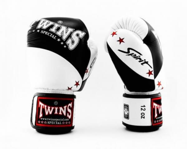 TWINS Boxhandschuhe Muay Thai Leder BGVL 10 BLACK/WHITE