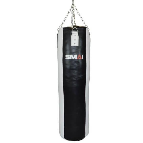 SMAI Boxsack Echtleder gefüllt, schwarz-weiß 190cm