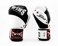 TWINS Boxhandschuhe Muay Thai Leder BGVL 10 BLACK/WHITE 10 Oz