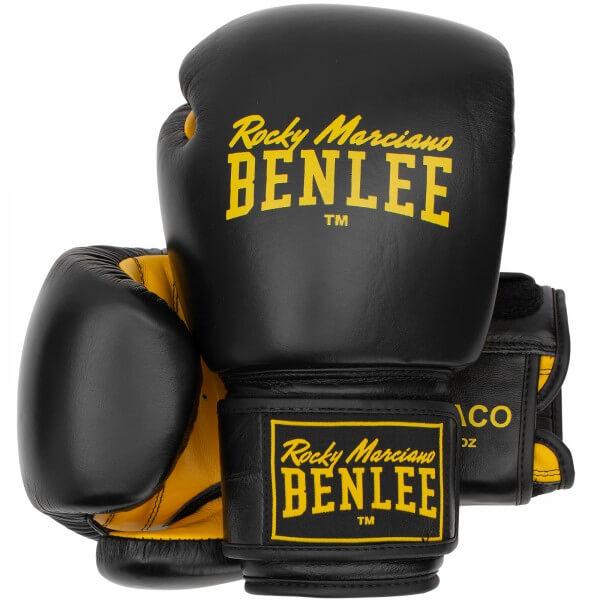 BENLEE Boxhandschuhe DRACO aus Leder Black/yellow