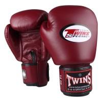 TWINS Boxhandschuhe Muay Thai Leder BGVL-3 WINE RED 10 Oz