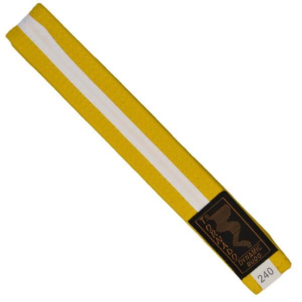 Budogürtel gelb-weiß 220cm