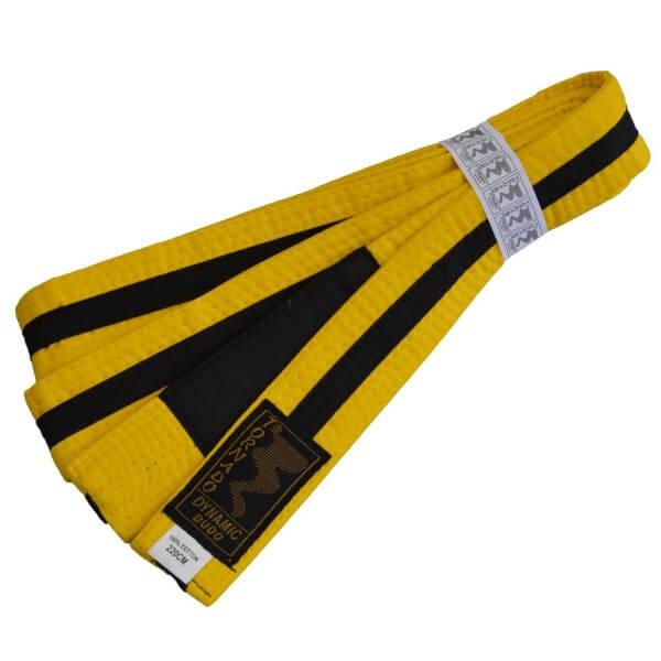 Kinder BJJ Gürtel gelb-schwarz m. Bar 220 cm