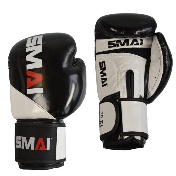 SMAI PU Boxhandschuhe, schwarz-weiß, 8oz