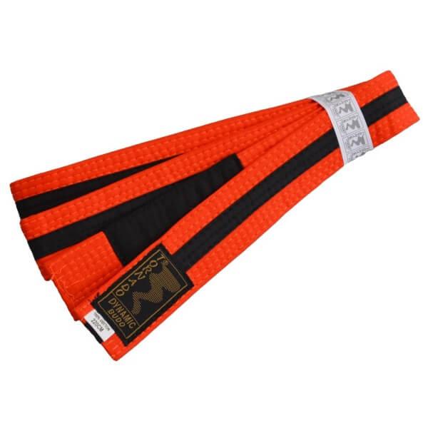 Kinder BJJ Gürtel orange-schwarz m. Bar 220 cm