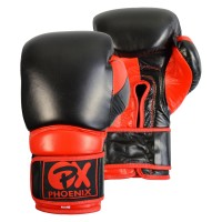 PX Leder Boxhandschuh COMBAT, schwarz-rot 10oz