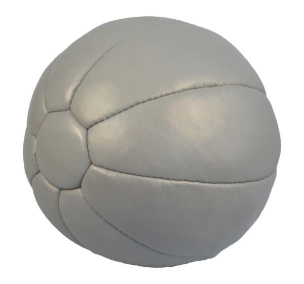 Medizinball Echtleder 4Kg grau, D= 25 cm