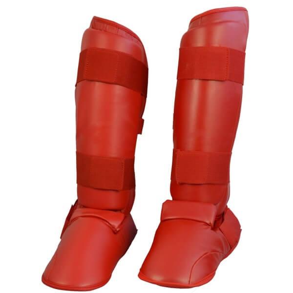 Karate Kumite Schienbein-Spannschutz rot Gr XS