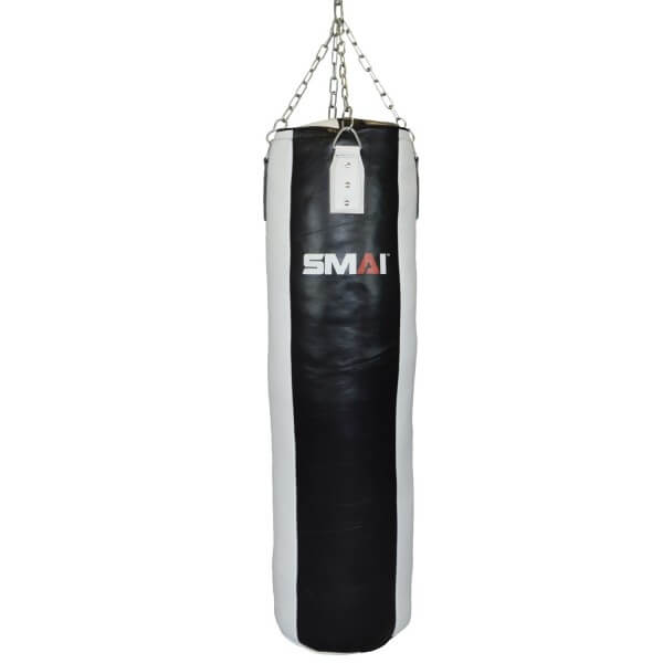 SMAI Boxsack Echtleder gefüllt, schwarz-weiß 130cm
