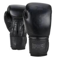 Super Pro Combat Legend Leder Boxhandschuhe black 12oz Schwarz