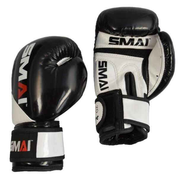 SMAI Kids PU Boxhandschuhe, schwarz-weiß, 2oz