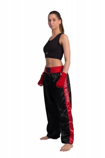 PHOENIX Kickboxhose schwarz-rot Stick