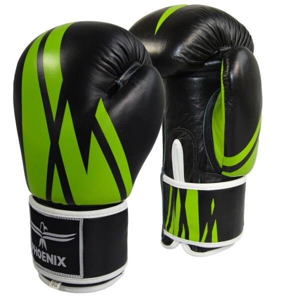 PHOENIX Thai Boxhandschuh, Leder,schwarz-grün 10oz